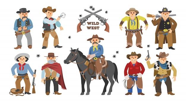 Cowboy western koe jongen op wild paard karakter voor reed