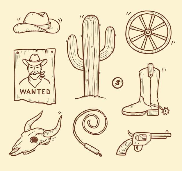 Cowboy westerse doodle set. hand getrokken schets lijnstijl. cowboyhoed, koeschedel, pistool, cactuselement. wilde westen vectorillustratie.
