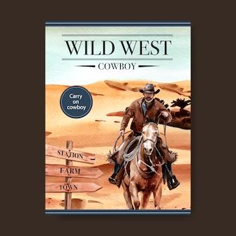 Cowboyaffiche met man, paard, teken