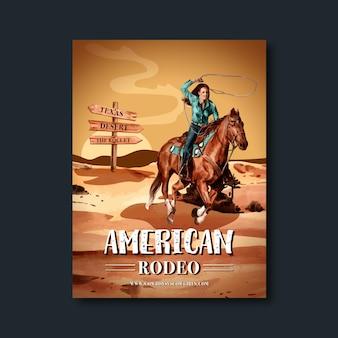 Cowboyaffiche met woestijn, paard, vrouw