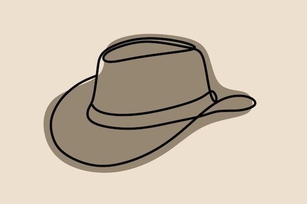 Cowboyhoed oneline doorlopende lijntekeningen