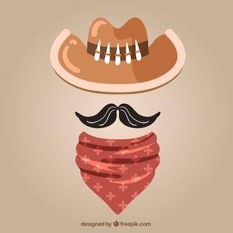 Cowboyhoed, sjaal en snor