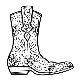 Cowboylaars met bloemmotief. ontwerpelement voor poster, t-shirt, embleem, teken.