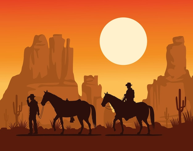 Cowboys vormen silhouetten bij paarden in de woestijn