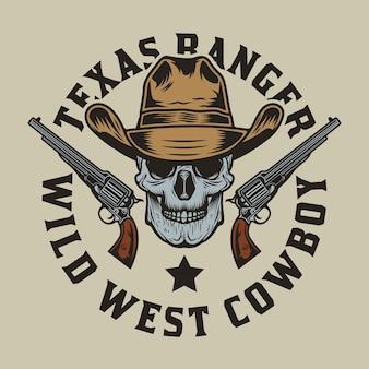 Cowboyschedel met getrokken pistoolkanonnen
