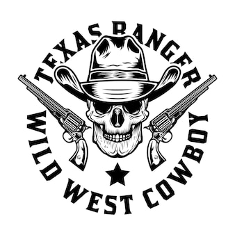 Cowboyschedel met pistoolgeweren
