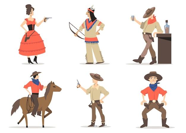 Cowboyverhalen tekenset. traditionele bewoners van het wilde westen, rode indianen, rodeo-man met lasso-rijpaard, sheriff die whisky drinkt in de salon. voor amerikaanse cultuur, traditie, geschiedenis