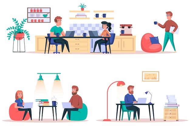 Coworking center geïsoleerde elementen set bundel van werknemers werkt in open kantoor freelancers