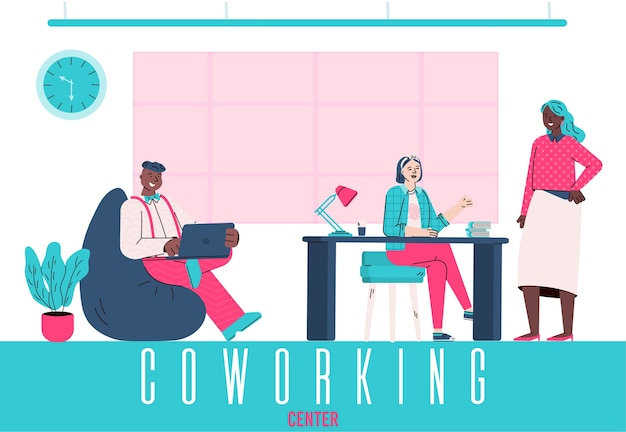 Coworking center illustratie