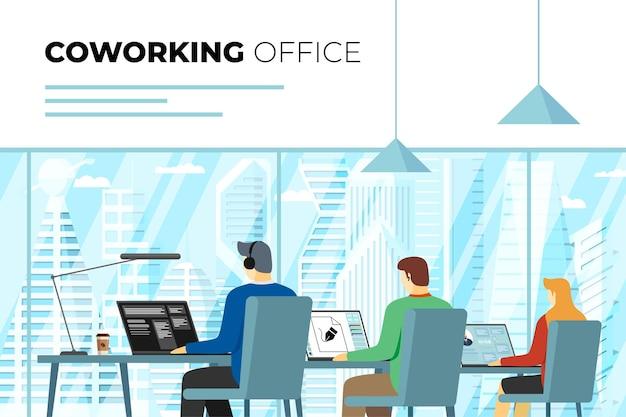 Coworking center open space kantoor met freelance personen. professionele collega werkplek. programmeur, ontwerper en manager met laptops in werkruimte. buiten raam moderne stad wolkenkrabbers. eps