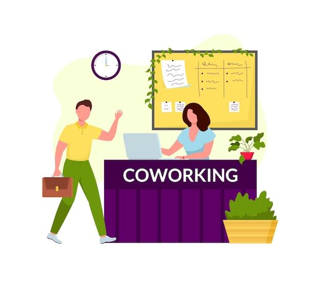 Coworking center receptie. man groet jong meisje manager. platte ontwerp stijl illustratie. freelancers die creatieve ruimte samenwerken. modern kantoor interieur.