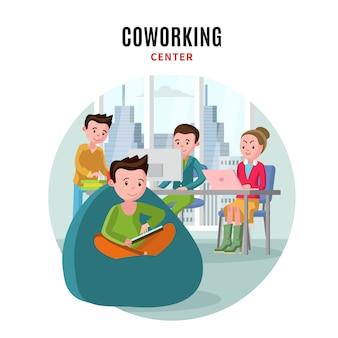 Coworking center vlakke samenstelling