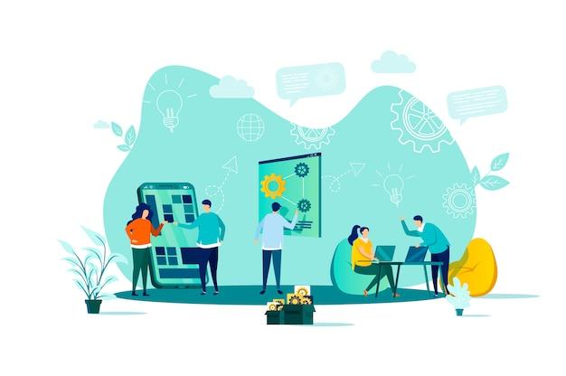 Coworking-concept in stijl met personenpersonages in situatie