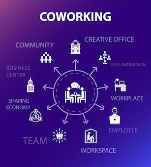 Coworking concept sjabloon. moderne ontwerpstijl. bevat iconen als creatief kantoor, samenwerking, werkplek, deeleconomie