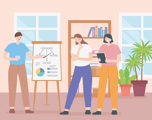 Coworking, groep bedrijfsmensen die in een ruimte werken met de presentatie van het bestuursrapport.