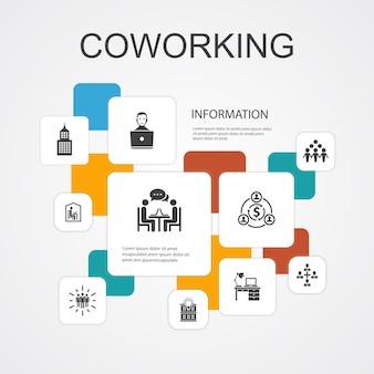 Coworking infographic 10 lijn iconen sjabloon. creatief kantoor, samenwerking, werkplek, deeleconomie eenvoudige pictogrammen