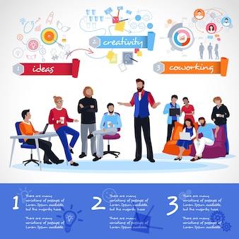 Coworking infographics-sjabloon