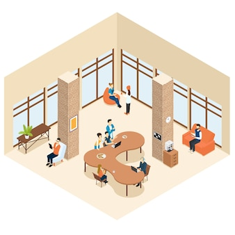 Coworking isometrische centrum interieurconcept