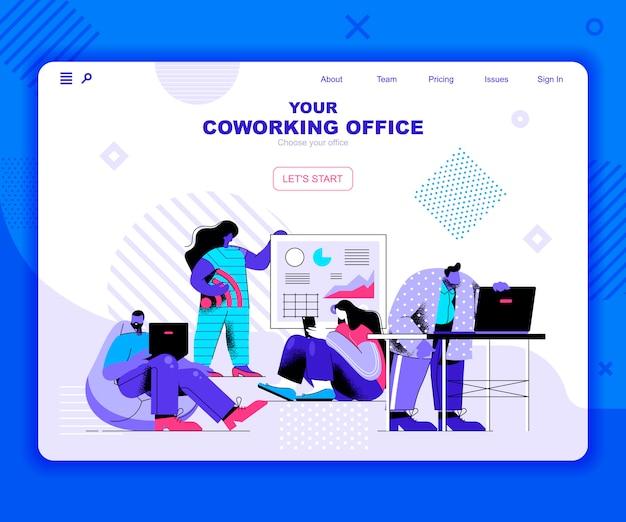 Coworking kantoor bestemmingspagina sjabloon