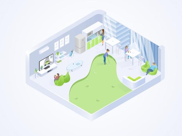 Coworking kantoor lounge interieur isometrische vector
