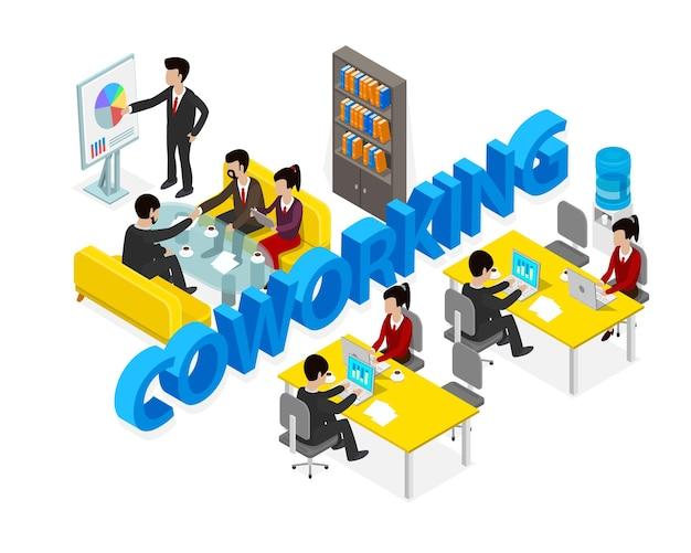 Coworking kantoor mensen zaken man object isometrisch. vector illustratie