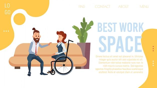 Coworking kantoorruimte platte vector webpagina