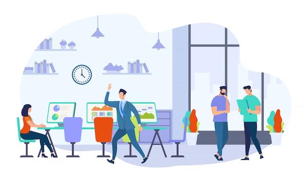Coworking mannen en vrouwen creatieve arbeiders team