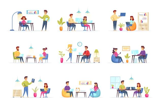 Coworking office collection personen karakters