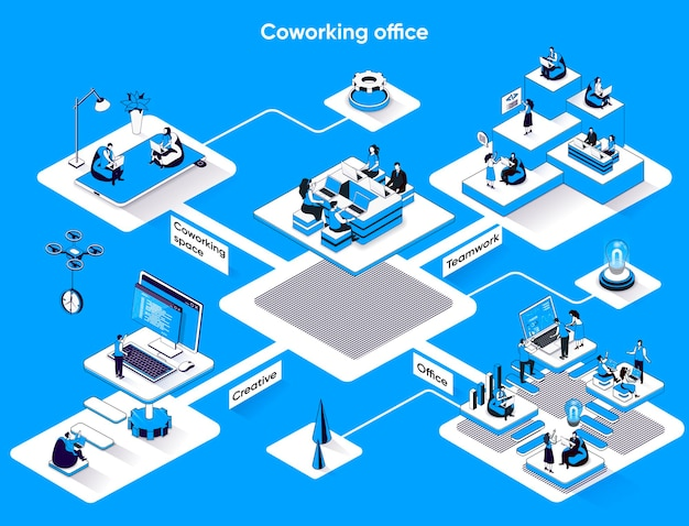 Coworking office isometrische webbanner platte isometrie