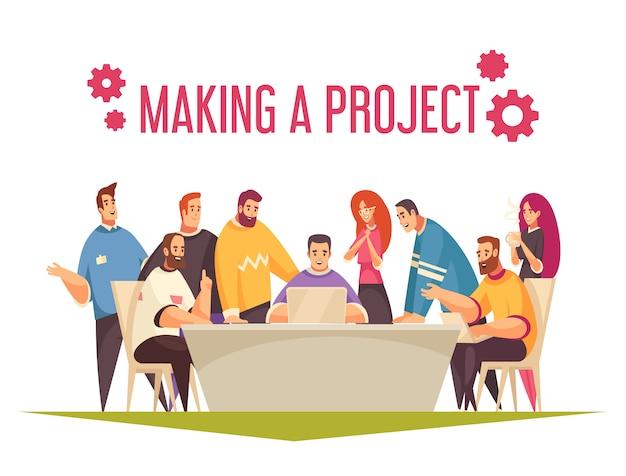 Coworking ontwerpconcept met groep mensen die in team werken en gemeenschappelijke projectillustratie maken