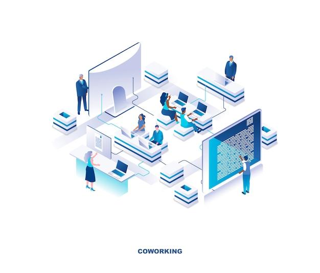 Coworking plaats of gedeeld kantoor isometrisch concept