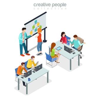 Coworking presentatie vergadering kantoor interieur indoor concept.