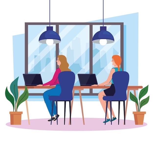 Coworking-ruimte, groep vrouwen in bureau met laptops, teamwerk concept illustratie