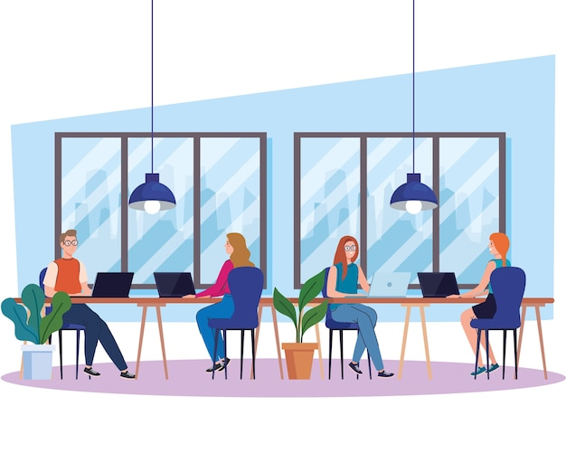 Coworking-ruimte, groepsmensen met laptops in groot bureau, teamwerkconceptillustratie