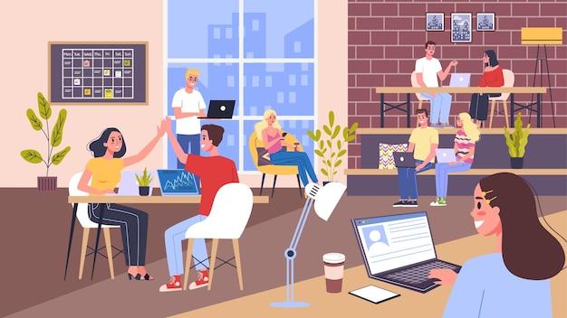 Coworking ruimte. mensen uit het bedrijfsleven werken in team. werknemers aan het bureau. idee van communicatie en samenwerking. illustratie