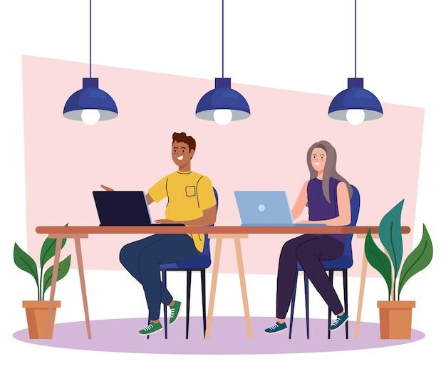 Coworking ruimte, paar in bureau met laptops, teamwerk concept illustratie