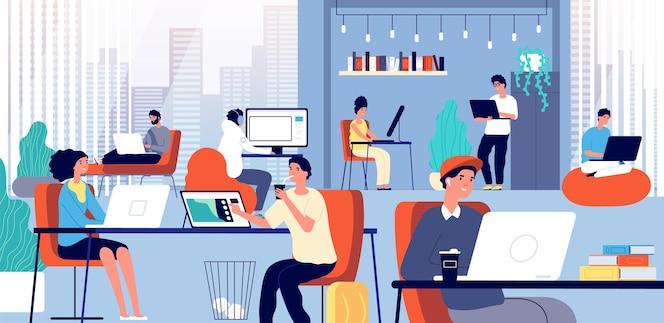 Coworking ruimte. slimme zakelijke onderneming. ontmoeting met lachende creatieve mensen.