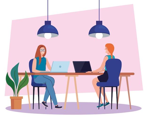 Coworking ruimte, vrouwen in bureau met laptops, teamwerk concept illustratie