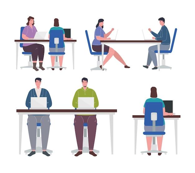Coworking-ruimtes, groep jongeren team werken.
