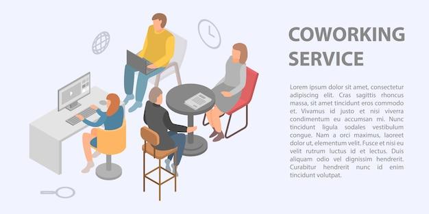 Coworking service concept banner, isometrische stijl