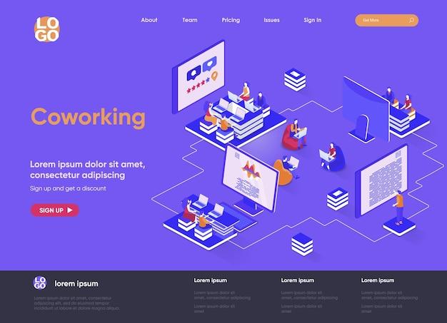 Coworking space 3d isometrische bestemmingspagina website illustratie met karakters van mensen