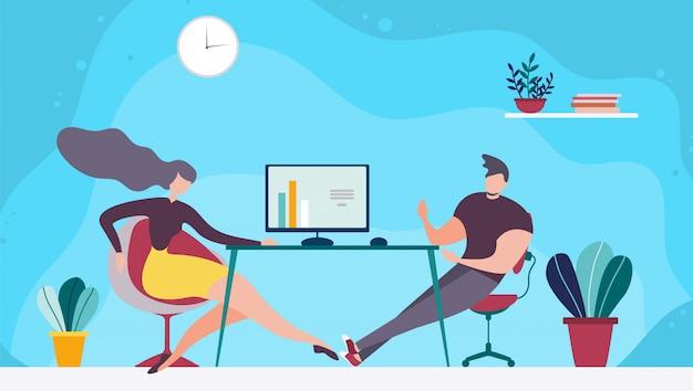Coworking space and brainstorming team cartoon
