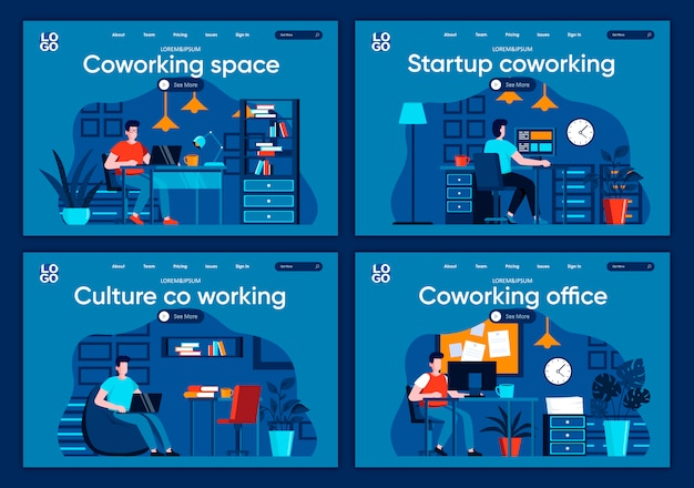 Coworking space platte bestemmingspagina's ingesteld. ontwerpers en ontwikkelaars die werken aan open werkruimtescènes voor een website of cms-webpagina. start coworking, cultuur van co-working in office illustratie