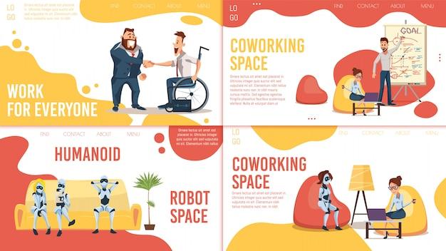 Coworking space, werkgelegenheid webpagina's set