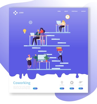 Coworking team work-bestemmingspagina. open werkruimteconcept met mensenpersonages die websitesjabloon samenwerken.