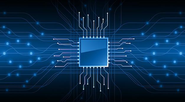 Cpu blauwe cyber circuit toekomstige technologie concept achtergrond