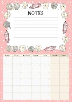 Craft hygge maandkalender met kaarsen, kristallen en garenornament. gezellige bohemien planner. leuke sjabloon voor agenda, planners met copyspace voor notities.