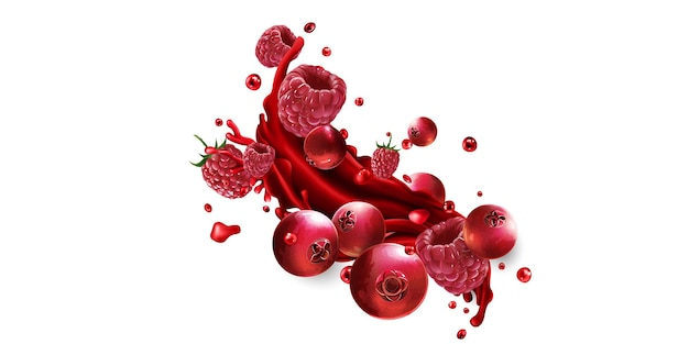 Cranberries en frambozen en een scheutje rood vruchtensap op een witte achtergrond.