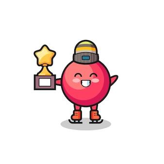 Cranberry-cartoon als schaatser met winnaartrofee, schattig stijlontwerp voor t-shirt, sticker, logo-element