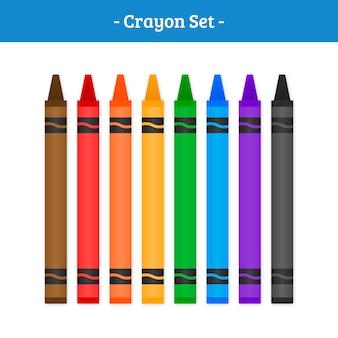 Crayon vector set
